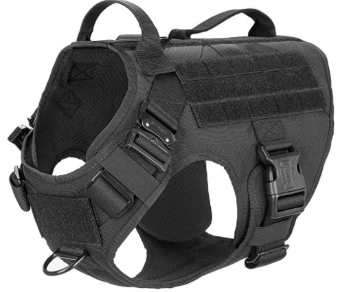Best Tactical Vest Of Military K9 Harness ICEFANG Tactical Dog Harness With 2× Metal Buckle